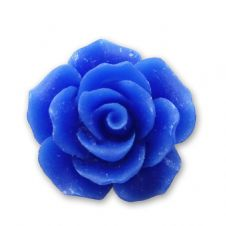 18mm Electric Blue Resin Rose Bloom Cabochon